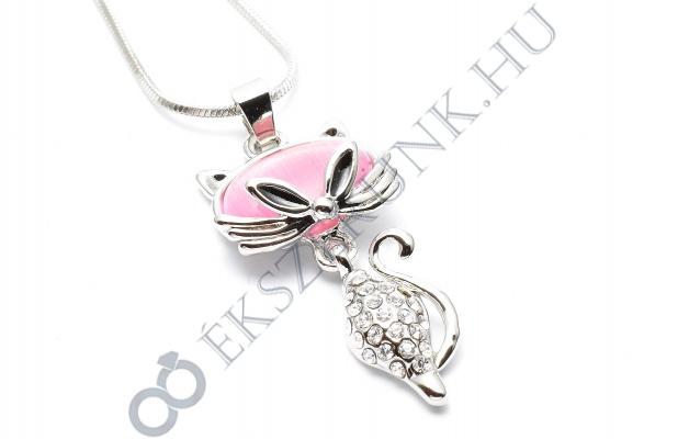 Macska nyaklánc - rózsaszín