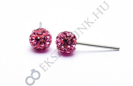 Swarovski  rózsaszín köves gömb fülbevaló 6mm