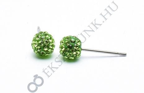 Swarovski  zöld köves gömb fülbevaló 6mm